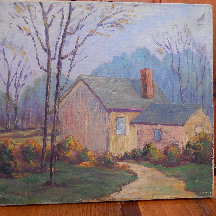 Old house oil painting rustic decor vintage adirondack for Classic house painting